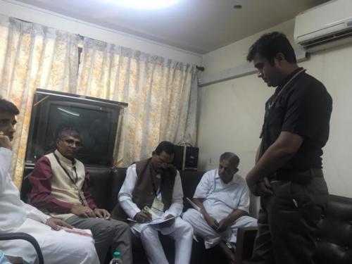 Honorable Shripad Yesso Naik, AYUSH Minister in presence of Rajesh Kotecha ( AYUSH Secretary) & H R Nagendra ( Vice chancellor of S-VYASA)